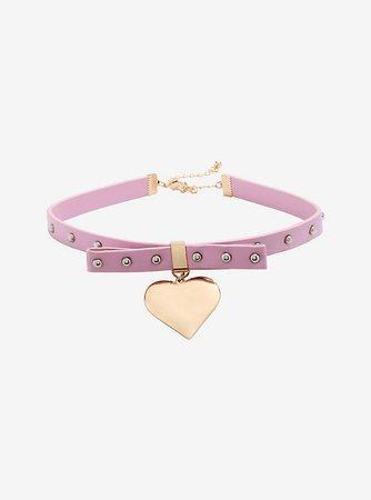 Gold Heart Charm Pink Choker