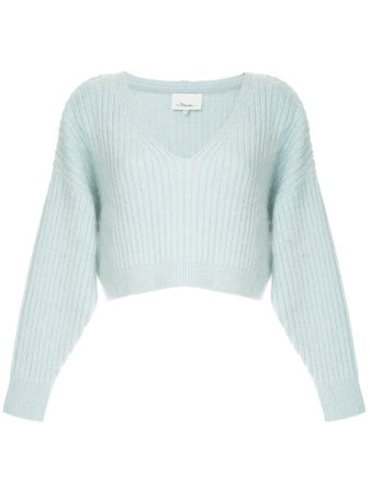 Blue 3.1 Phillip Lim Cropped V-Neck Sweater | Farfetch.com