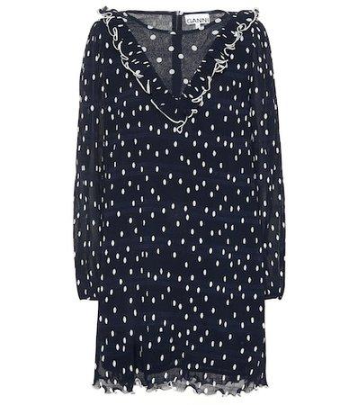 Polka-dot pleated georgette dress