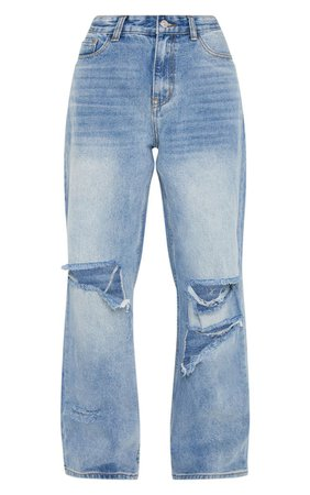 Mid Wash Baggy Low Rise Boyfriend Jeans   PrettyLittleThing USA