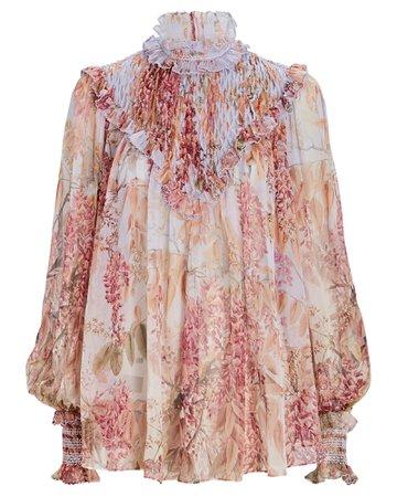 Zimmermann Botanica Smocked Floral Silk Blouse   INTERMIX®