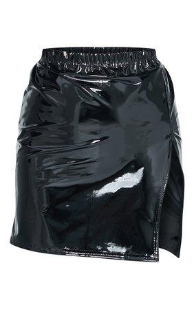 Black Side Split Vinyl Mini Skirt | Skirts | PrettyLittleThing USA