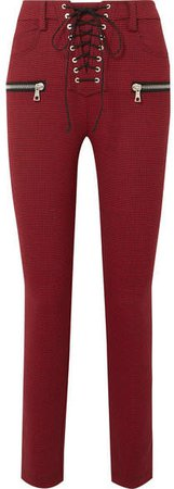 Lace-up Houndstooth Woven Skinny Pants - Red