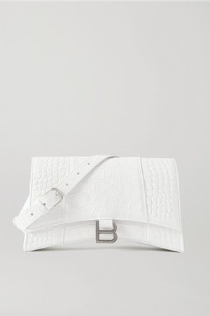 Hourglass Croc-effect Leather Shoulder Bag - White
