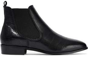 Glossed Croc-effect Leather Ankle Boots