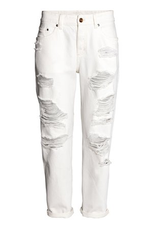 Boyfriend Low Ripped Jeans - White denim - | H&M GB