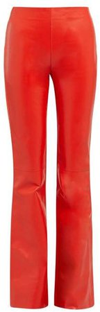 Lizzie Leather Front Bootcut Trousers - Womens - Red