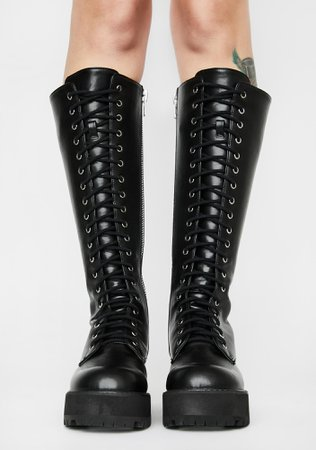Current Mood Knee High Combat Boots - Black | Dolls Kill