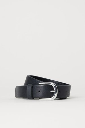 Leather belt - Black/Silver-coloured - Ladies | H&M GB