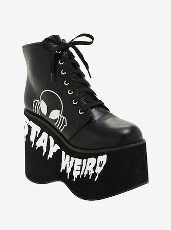 Stay Weird Alien Platform Booties