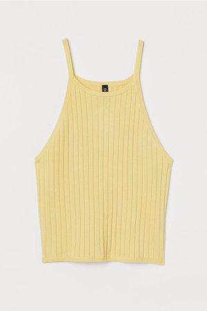 Ribbed Tank Top - Yellow - Ladies | H&M US