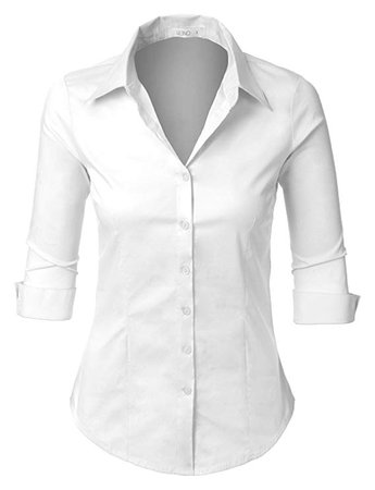 AmazonSmile: LE3NO Womens Roll Up 3/4 Sleeve Button Down Shirt with Stretch: Clothing