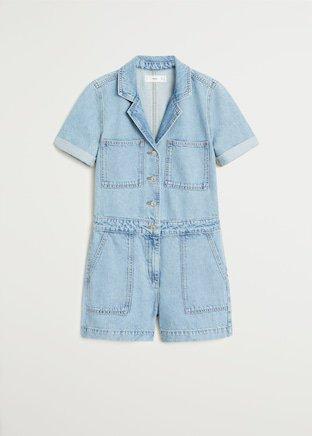 Denim short jumpsuit - Women   Mango USA blue