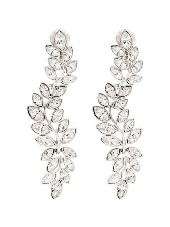 Kenneth Jay Lane Silver-Tone Crystal Drop Clip Earrings Ss20   Farfetch.com