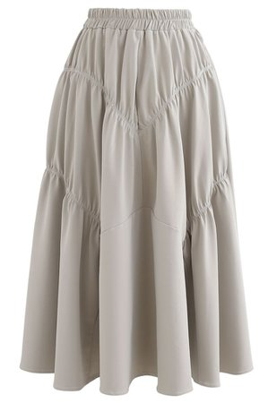 Faux Leather Elasticated Pleated Skirt in Ivory - Retro, Indie and Unique Fashion