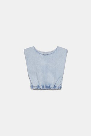 SHOULDER PAD DENIM TOP | ZARA United States