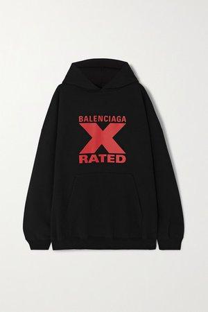 Balenciaga | Oversized printed cotton-jersey hoodie | NET-A-PORTER.COM