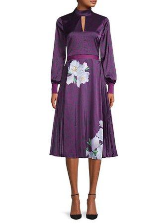Ted Baker London Animal-Print Mockneck Midi Dress on SALE | Saks OFF 5TH