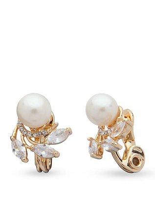 Anne Klein Gold-Tone Cubic Zirconia Pearl Clip Earrings   belk