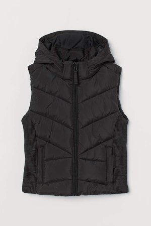 Hooded Puffer Vest - Black