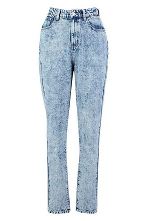 Tall Acid Wash Straight Leg Jeans | Boohoo blue