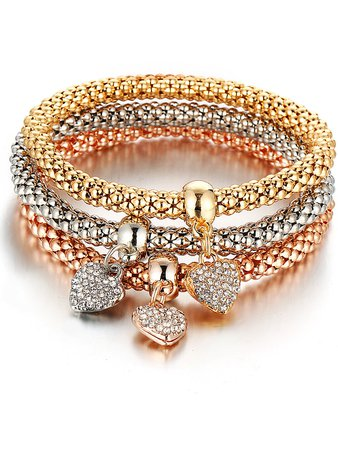 Heart Detail Rhinestone Bracelet Set 3pcs