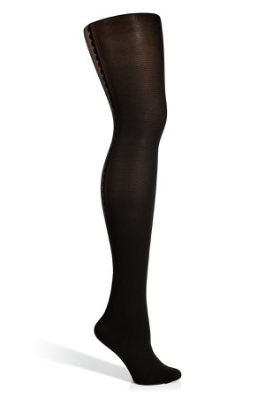 Black/Black Bijoux Tights with Silver Swarovski Crystals Gr. S