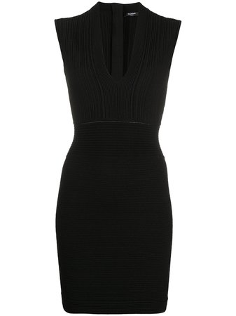 plunge-neck Ribbed Bodycon Dress