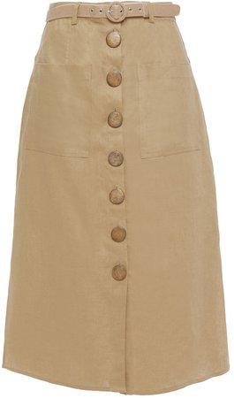 Belted Linen Midi Skirt