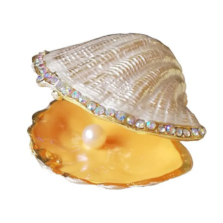 Beige Pearl Mussel Hinged Clam Trinket Box Wedding Ring Holder Metal Seashell Figurine