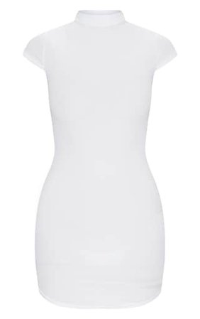 White High Neck Ribbed Bodycon Dress | PrettyLittleThing