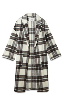 Checked knit open coat - Women's Just in | Stradivarius United States cream