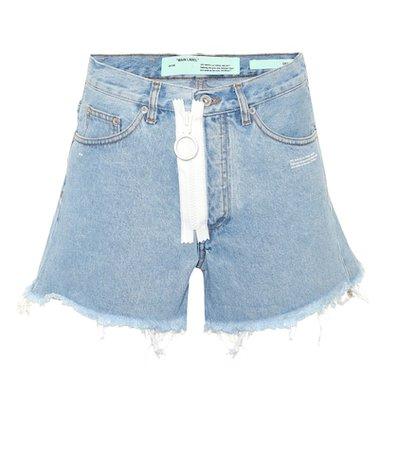 Zip denim cut-off shorts