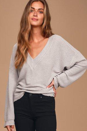 Cute Light Grey Top - Waffle Knit Top - Long Sleeve Top - Sweater