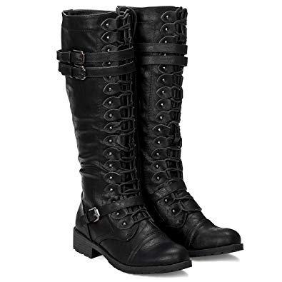 Black Knee-High Lace Combat Boots Women