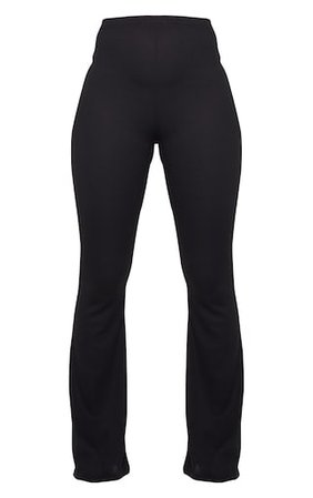 Black Ribbed Flared Trousers   Trousers   PrettyLittleThing