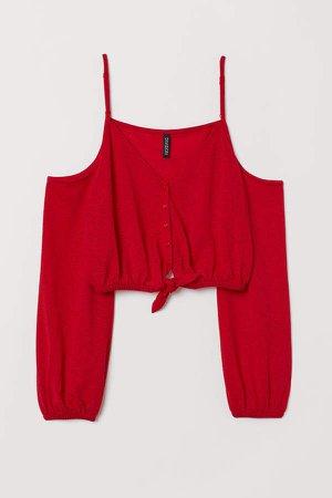 Short Open-shoulder Top - Red