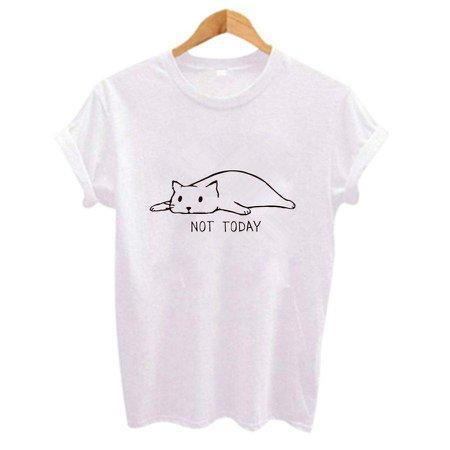"""Kawaii """"Not Today"""" Neko T-Shirt Cat Printed Top #JU2435 – Juku Store"""