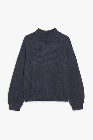Vertical knit sweater - Blue - Jumpers - Monki