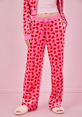 Sugar Thrillz Heart Print Velour Track Pants - Pink/Red   Dolls Kill