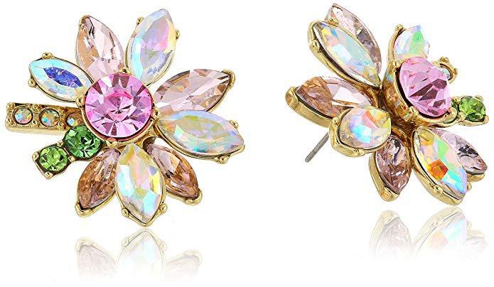 Betsey Johnson Mixed Stone Flower Stud Earrings: Jewelry