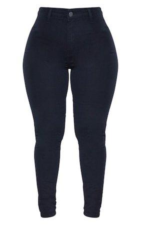 Shape Black Disco Skinny Jeans | Curve | PrettyLittleThing