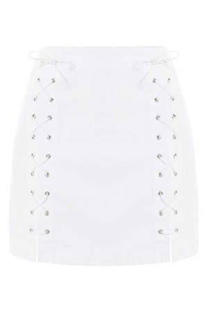 MOTO White Lace Up A-Line Denim Skirt