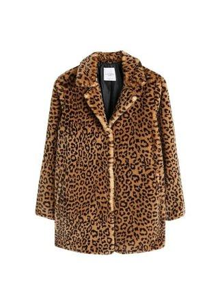 Violeta BY MANGO Animal print faux fur coat