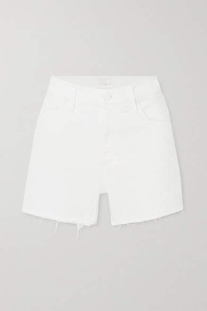 The Sinner Frayed Denim Shorts - White