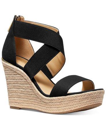 Michael Kors Prue Espadrille Wedge Sandals & Reviews - Sandals & Flip Flops - Shoes - Macy's black