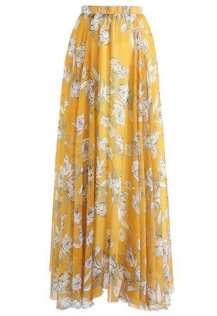 Flower Season Chiffon Maxi Skirt in Yellow - Retro, Indie and Unique Fashion