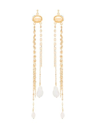 By Alona chain pearl-drop earrings £190 - Buy Online - Mobile Friendly, Fast Delivery