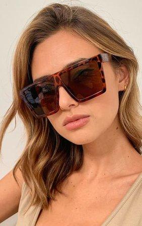 Brown Tortoise Oversized Flat Bar Sunglasses | PrettyLittleThing