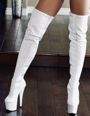 white thigh high boots - Google Search